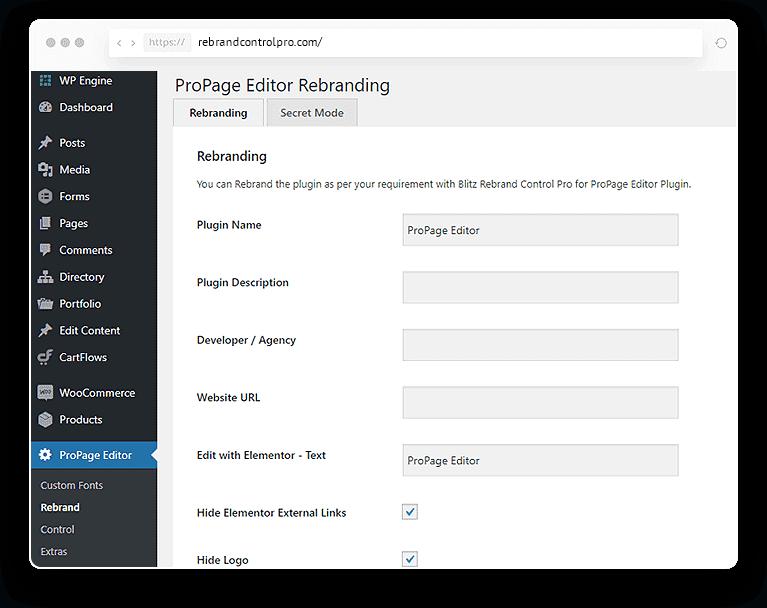 Rebrand Control PRO for Elementor: WaaS Pro WordPress Plugin